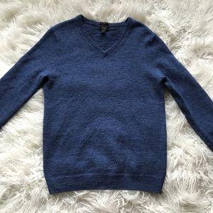 J Crew Slim Slub Merino V-Neck Sweater Blue